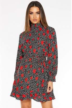 Quiz Black Heart Print Long Sleeve Dress