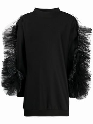 Loulou Ruffled-Sleeves Sweatshirt Dress