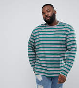 Puma PLUS Long Sleeve Striped Top In Green Exclusive To ASOS