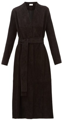 The Row Luisa Stretch-lambskin Suede Coat - Womens - Black