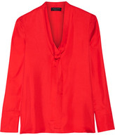 Rag & Bone Florence Pussy-bow Silk-satin Twill Shirt - Red