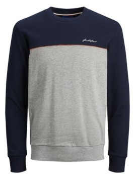 Jack and Jones Men's Color Block Long Sleeve Crew Neck Sweatshirt