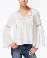 Amy Byer Juniors' Lace-Trim Bell-Sleeve Peasant Top