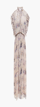 IRO Lace-up Gathered Printed Crepon Midi Dress