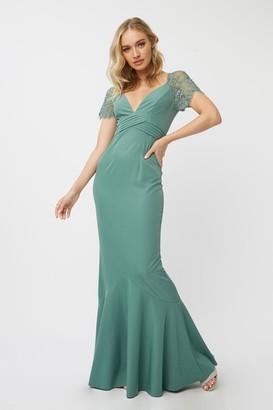 Little Mistress Bridesmaid Layla Nile Blue Embellished Lace Sleeve Maxi Dress