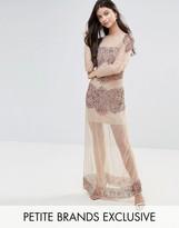 Maya Petite Allover Embellished Mesh Insert Maxi Dress
