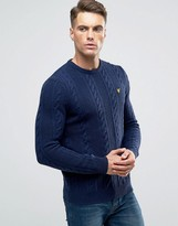 Lyle & Scott Crew Cable Knit Sweater Lambswool in Navy