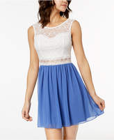 BCX Juniors' Lace Chiffon Contrast Dress