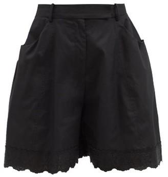 Simone Rocha Floral-embroidered Scalloped Cotton-poplin Shorts - Black