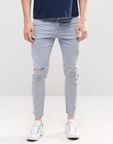 Asos Skinny Cropped Jeans With Extreme Knee Rips In Light Blue