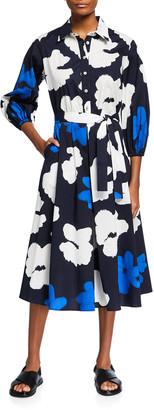 Piazza Sempione Floral Pleated A-Line Midi Dress