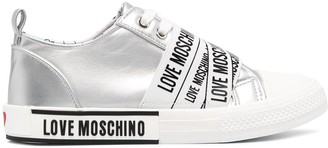 Love Moschino Metallic Logo-Print Trainers