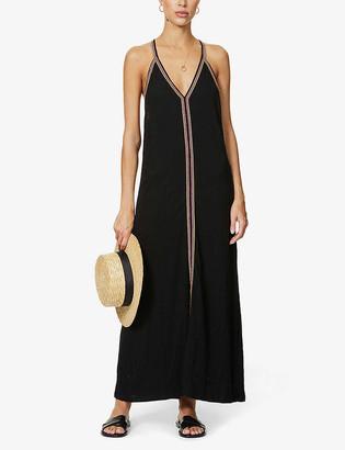 Pitusa Marled crochet-trim cotton-blend maxi dress
