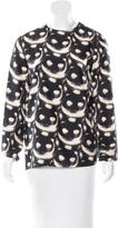 Nina Ricci Cat Print Silk Top w/ Tags