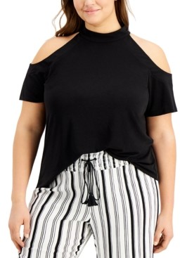 INC International Concepts Inc Plus Size Mock-Neck Cold-Shoulder Top, Created for Macy's