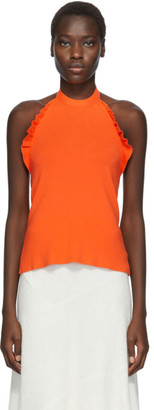 See by Chloe Orange Ruffle Halter Tank Top
