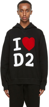 DSQUARED2 Black Logo Heart Hoodie