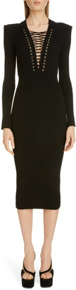 Balmain Lace-Up Long Sleeve Midi Sweater Dress