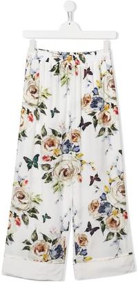 MonnaLisa TEEN floral-print wide-leg trousers