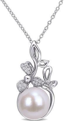 Rina Limor Fine Jewelry Silver Diamond 11-12Mm Pearl Floral Pendant Necklace