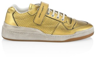 Saint Laurent SL24 Perforated Metallic Leather Sneakers