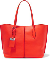 Tod's Joy Medium Textured-leather Tote - Tomato red