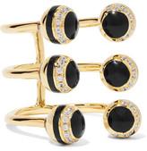 Noir Honeybee Gold-Tone, Crystal And Enamel Ring