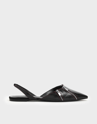 Charles & Keith Wrinkled Patent Zip Detail Pointed Toe Slingback Flats