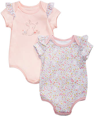 First Impressions Baby Girls 2-Pk. Cotton Bunny & Floral-Print Bodysuits