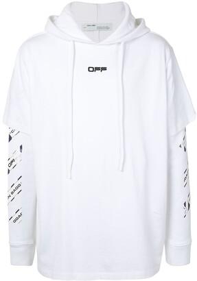 Off-White Airport Tape-print layered hoodie