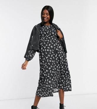 Topshop Maternity midi smock dress in black floral print