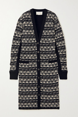 Chloé Wool-blend Tweed Cardigan - Navy