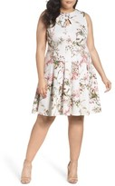 Gabby Skye Plus Size Women's Floral Fit & Flare Dress