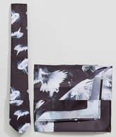 Religion Tie & Pocket Square Set In Dove Print