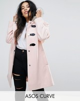 Asos Duffle Coat With Faux Fur Hood