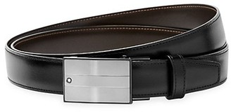 Montblanc Rectangular Matte & Shiny Stainless Steel Roll Plate Buckle Leather Belt