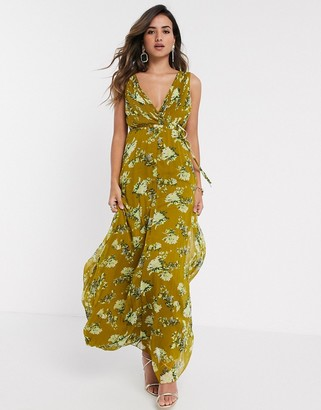 Asos DESIGN wrap bodice maxi dress with tie waist and pleat skirt in floral print