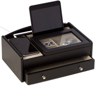 Bey-Berk Bey Berk Matte Black Wood Valet Box Features A Storage Compartment