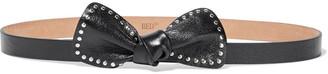 Red(V) Studded Bow-embellished Leather Belt