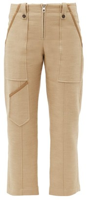 Chloé Patch-pocket Linen-blend Cropped Trousers - Khaki