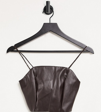 Collusion faux leather crop top co-ord in brown