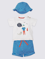 Marks and Spencer 3 Piece Pure Cotton T-Shirt & Shorts with Hat Outfit