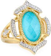 Jude Frances Malta 18k Diamond & Turquoise Doublet Ring, Size 6.5