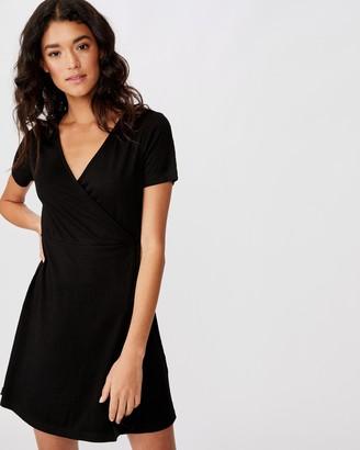 Cotton On Sasha Short Sleeve Wrap Mini Dress