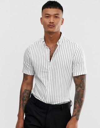 Asos Design DESIGN skinny fit shirt short sleeve shirt with stripe-White