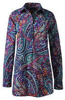 Lands' End Women's No Iron Tunic Top-Jewel Green Paisley