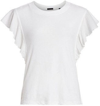 ATM Anthony Thomas Melillo Mixed Media Fluted-Sleeve Tee