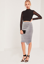 Missguided Velvet Asymmetric Midi Skirt Grey