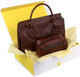Barbour Leather Holdall And Washbag Hamper