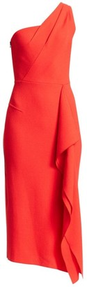 Roland Mouret Rivoli One-Shoulder Wool Cocktail Dress